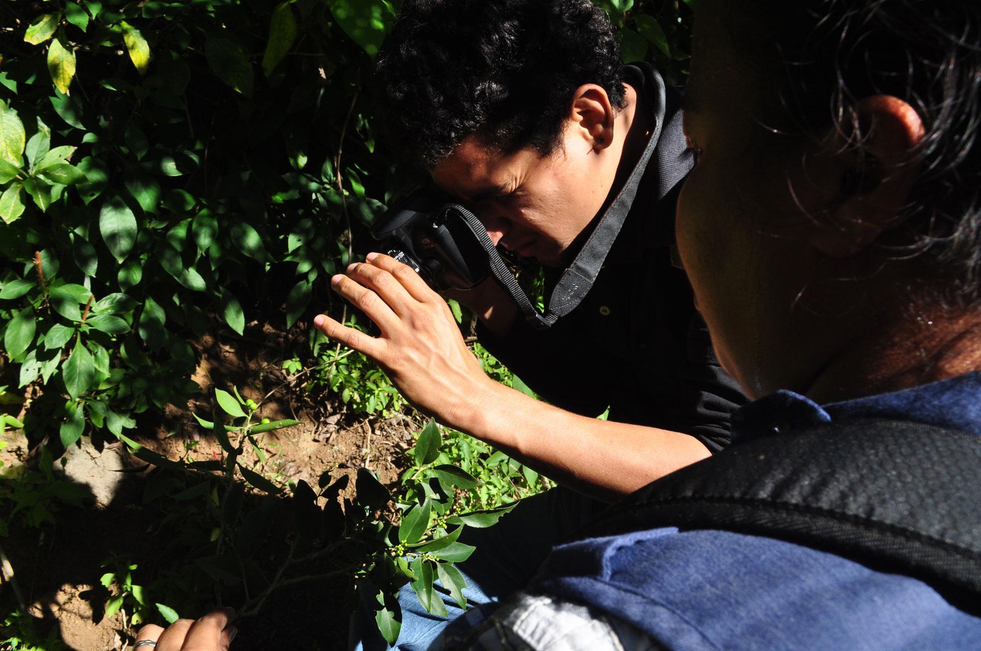 Uno de los jóvenes voluntarios que estudia la flora de la reserva El Bajo y parte del grupo que descubrieron los árboles del estudio.